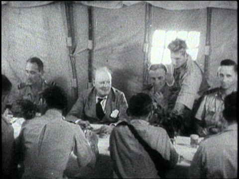 british prime minister winston churchill drinks alcohol with british troops while visiting africa - winston churchill stock videos & royalty-free footage