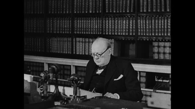 sot british prime minister winston churchill says german leadership has signed articles of surrender to allied expeditionary force soviet high... - ve day stock-videos und b-roll-filmmaterial