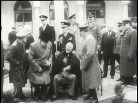 british prime minister winston churchill soviet premier joseph stalin and us president franklin d roosevelt meet at the yalta conference in february... - 1954 stock videos & royalty-free footage