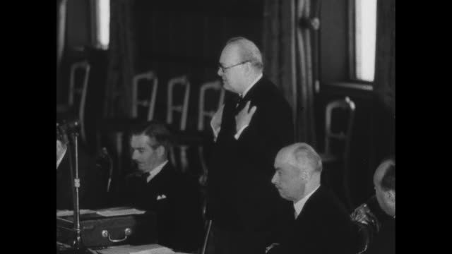 british prime minister winston churchill speaks at conference of commonwealth and allied foreign ministers british foreign secretary anthony eden... - speech stock videos & royalty-free footage