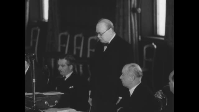 British Prime Minister Winston Churchill speaks at conference of Commonwealth and allied foreign ministers Anthony Eden sits at left SOT [war will be...