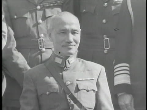 british prime minister winston churchill united states president franklin d roosevelt and generalissimo chiang kai shek attend the cairo conference... - chiang kai shek stock-videos und b-roll-filmmaterial