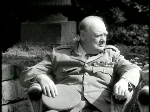 british prime minister winston churchill, united states president harry s. truman and soviet premier joseph stalin sit outside during the potsdam... - potsdam brandenburg stock videos & royalty-free footage