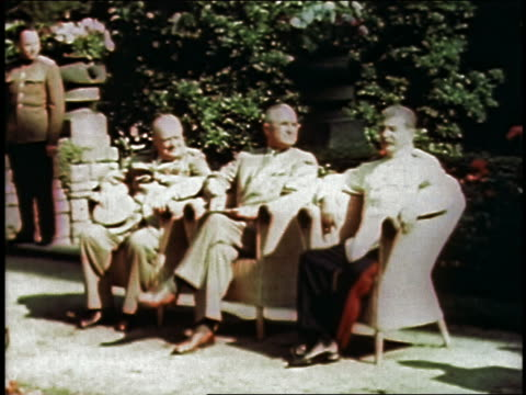 british prime minister winston churchill, us president harry s. truman, and soviet leader joseph stalin attending potsdam conference and sitting in... - potsdam brandenburg stock videos & royalty-free footage