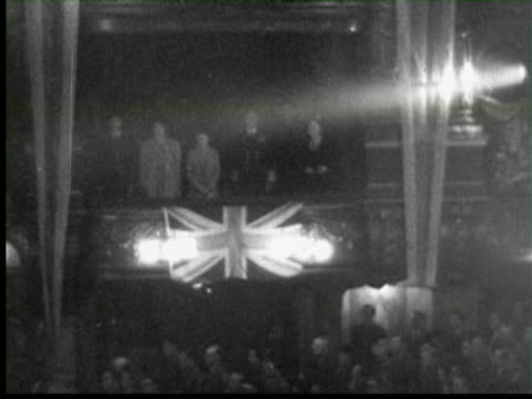 b/w british royal family watching irving berlin perform in military revue, london / audio - royalty stock videos & royalty-free footage