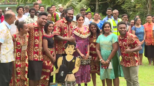 british royal meghan markle recounted her own struggles to afford university as she promoted female education to fijian students in her first speech... - oceania stock videos & royalty-free footage