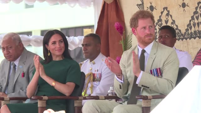british royals harry and meghan attend a traditional ceremony at nadi airport in fiji before they depart for tonga - fiji stock videos & royalty-free footage
