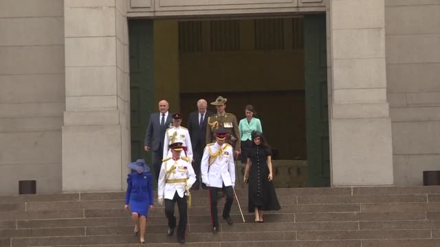 british royals harry and meghan attend the opening of an upgraded war memorial in sydney for the latest stop of their australian tour - harry meghan tour stock videos and b-roll footage