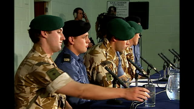 british sailors held captive in iran given permission to sell their stories; tx 6.4.2007 int press conference by freed royal navy sailors and royal... - royal marines stock videos & royalty-free footage