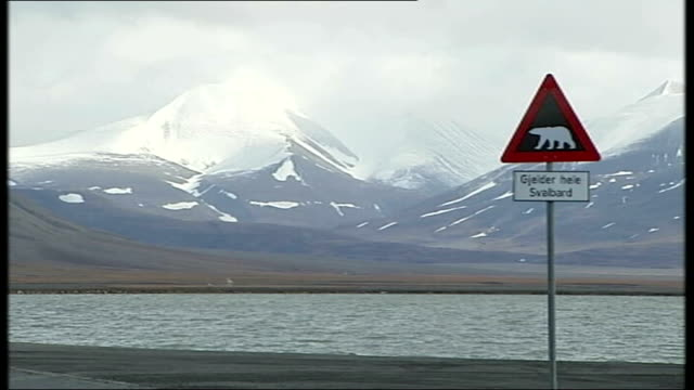 british schoolboy killed in polar bear attack 3182007 mountain ranges road sign in foreground warning of polar bears - svalbard and jan mayen stock videos & royalty-free footage