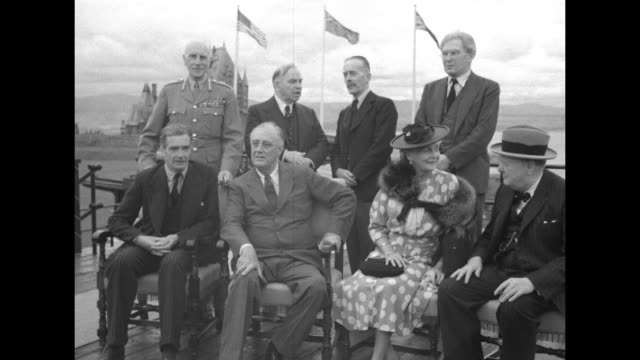 British Secretary of State for Foreign Affairs Anthony Eden sitting with US President Franklin Roosevelt at La Citadelle / Eden Roosevelt Clementine...
