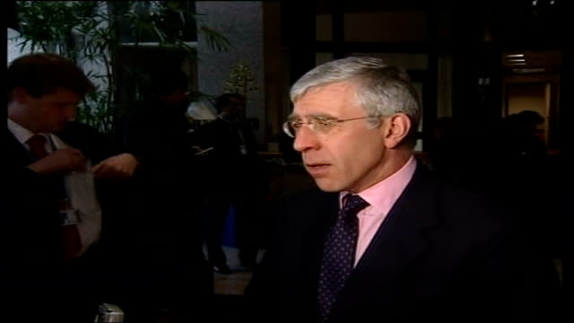 British security guards killed / Wedding party attack POOL Brussels Jack Straw MP speaking to press SOT Deaths are shocking / Show the risks...