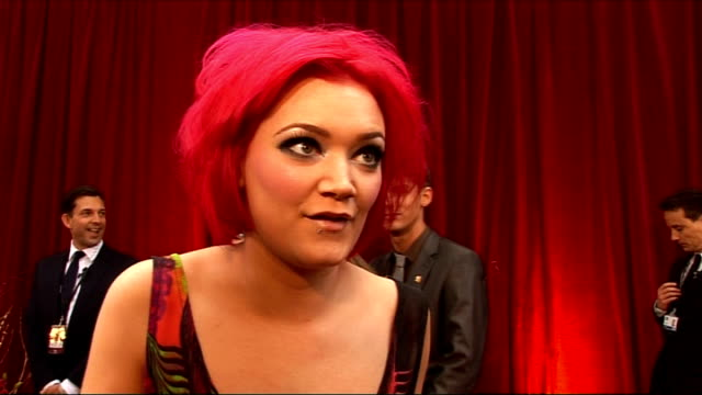 red carpet arrivals and interviews HollieJay Bowes interview SOT On her pink hair / nights out with the cast / her outfit from Topshop / previous...