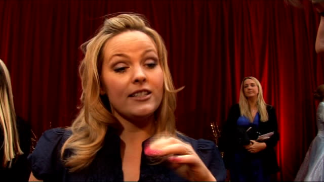 vídeos y material grabado en eventos de stock de british soap awards 2010: red carpet arrivals and interviews; jo joyner interview sot - on her dress / on what it's like being a mum / talks about... - eastenders