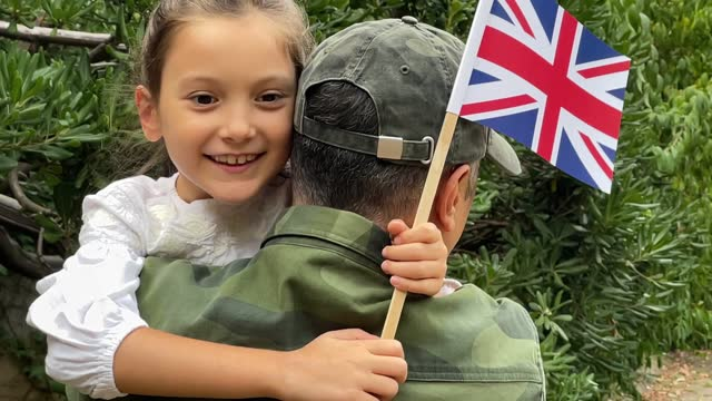 british soldier and his daughter - military uniform stock videos & royalty-free footage