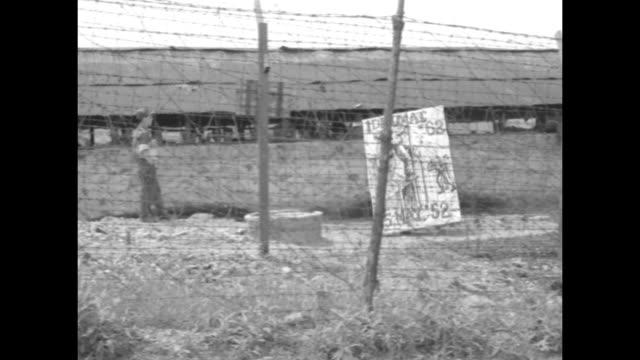 "british soldier in gas mask standing next to barbed wire fence outside geoje-do pow camp / mp walks past fence and sign on post that reads ""compound... - mp stock-videos und b-roll-filmmaterial"