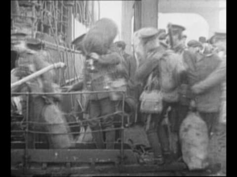 British soldiers board transport ship for return to England after peace treaty with Ireland renders them unnecessary in that country / British...