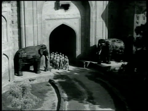 British soldiers marching through Elephant Gate at Delhi Fort India