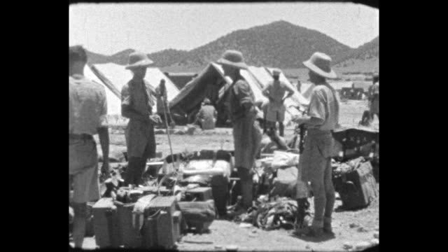 british soldiers unpack items of kit in the camp - colonial stock videos & royalty-free footage