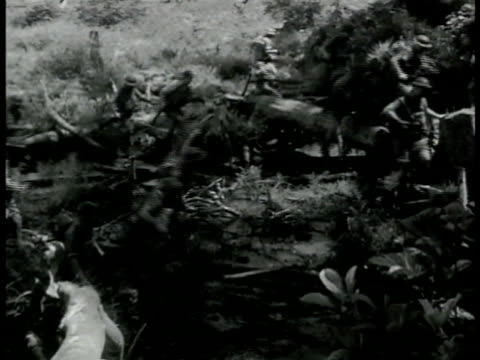 british soldiers walking through swamp jungle. english soldiers trudging through mud swamp. vs soldiers manning machinery. soldiers pushing... - south pacific ocean点の映像素材/bロール