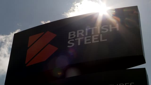 british steel appears to be on the brink of collapse; england: lincolnshire: scunthorpe: ext 'british steel' sign - business finance and industry stock videos & royalty-free footage