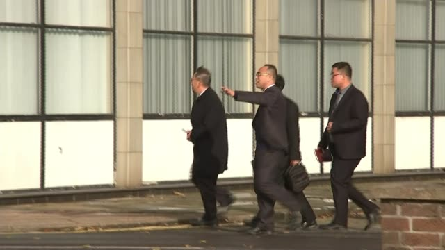 british steel sold to chinese firm jingye england general views of steel plants day li ganpo along with delegation 'save our steel' advert outside... - acciaieria video stock e b–roll