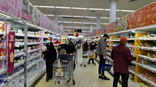 british supermarket chain on monday warned people of food shortages ahead of christmas after france placed a temporary ban on travel from the uk to... - groceries stock videos & royalty-free footage