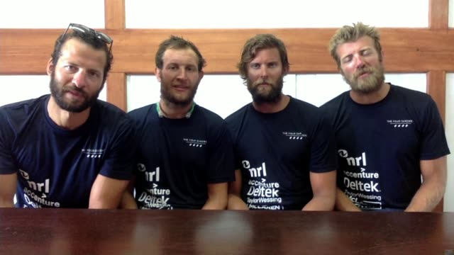 British team beat Atlantic rowing record ANTIGUA Dicky Taylor interview via Internet SOT alongside George Biggar Peter Robinson and Stuart Watts