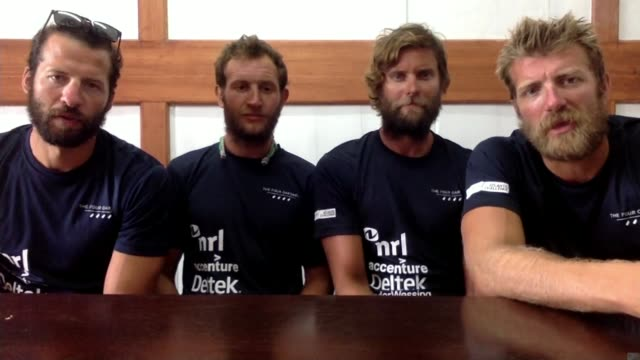 British team beat Atlantic rowing record London GIR Dicky Taylor 2WAY interview from Antigua and Barbuda SOT alongside Peter Robinson George Biggar...