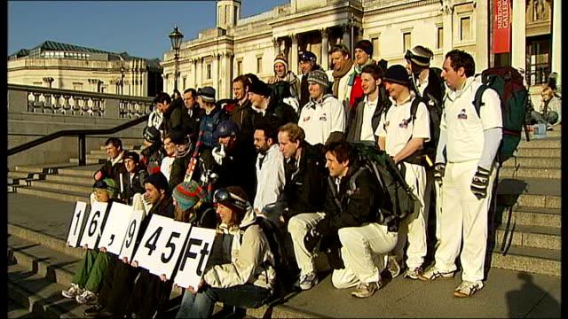 British team plans to play match on Mount Everest ENGLAND London Trafalgar Square Various of cricket team posing for press photocall Matthew Patten...