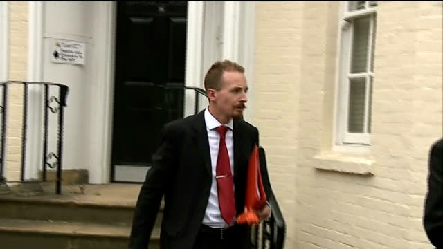 stockvideo's en b-roll-footage met group leader gives evidence at inquest england wiltshire salisbury ext expedition leader michael reid arriving to give evidence at the inquest into... - horatio chapple