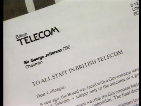 stockvideo's en b-roll-footage met british telecom proposed privatisation british telecom proposed privatisation london gresham street in letter from british telecom chairman sir... - british telecom