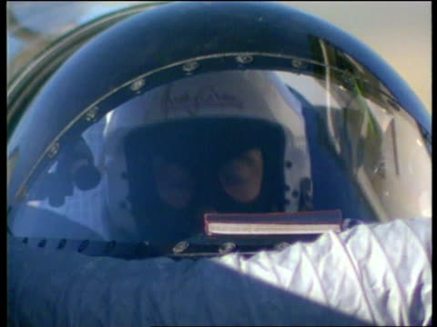 british thrustssc team set new land speed record; c)een itn usa: nevada: black rock desert: ext thrustssc car preparing for record-breaking run cms... - nevada stock videos & royalty-free footage