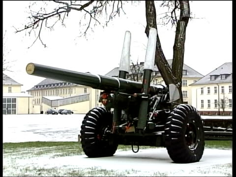 british soldier arrested file / date unknown location unknown ext large artillery gun on display at barracks / gv barracks / union flag flying at... - barracks stock videos and b-roll footage
