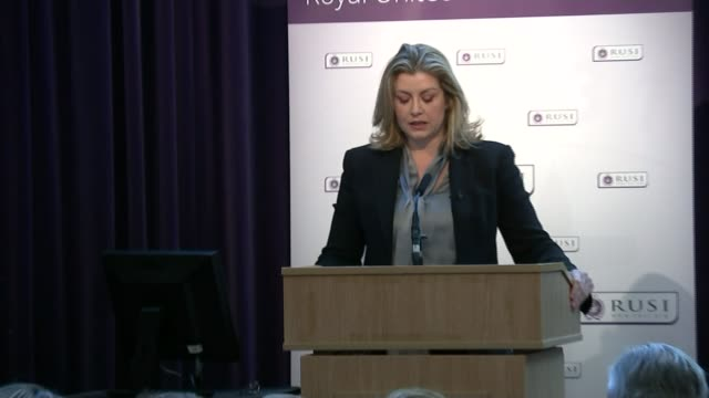 British troops and veterans to be given stronger protection against prosecution ENGLAND London Westminster INT Penny Mordaunt MP along to podium and...