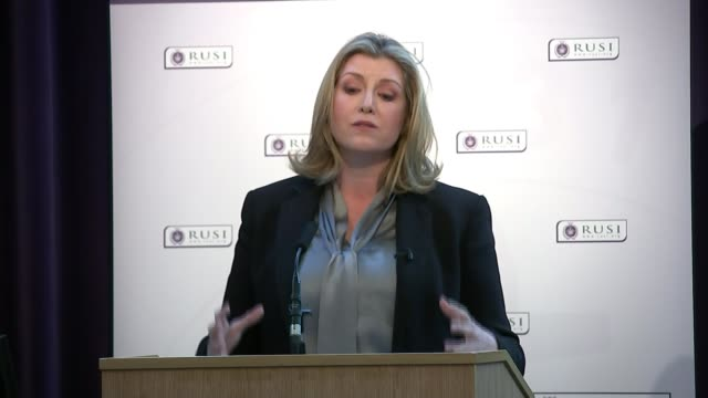 British troops and veterans to be given stronger protection against prosecution ENGLAND London Westminster RUSI INT Penny Mordaunt MP speech SOT Wide...