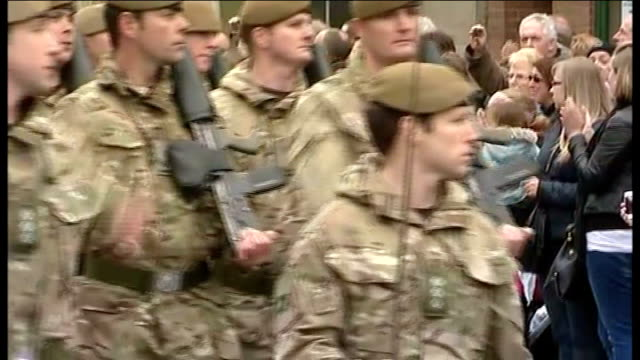 british troops prepare for deployment to afghanistan british troops of 3rd battalion the yorkshire regiment marching through town past crowds of... - battalion stock videos and b-roll footage