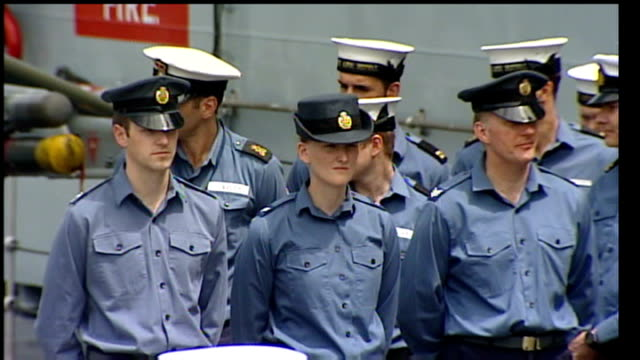 british troops to receive more help on arrival home / 'the sun' military awards ceremony; lib canada: nova scotia: halifax: ext various shots of crew... - 証書点の映像素材/bロール