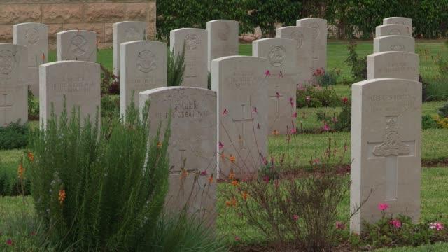 british war cemetery in beersheba - gravestone stock videos & royalty-free footage