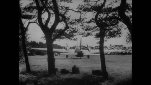wwii british war planes hidden in the corners of fields between civilian houses and in the air fighting the luftwaffe - airfield stock videos & royalty-free footage