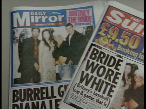 Britney Spears marriage annulled ITN London Newspaper front page stories on the wedding of Britney Spears PAN