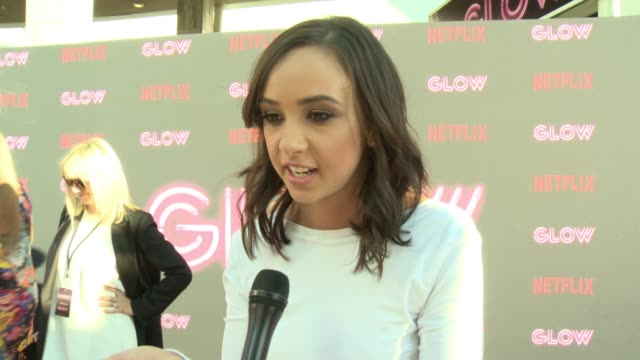 interview britt baron on glow on why female driven shows and female empowerment is resonating with people the sisterhood on and off set diversity on... - cinerama dome hollywood stock videos and b-roll footage