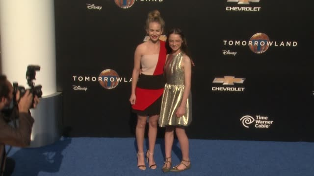 britt robertson and raffey cassidy at the tomorrowland los angeles premiere at amc downtown disney 12 theater on may 09 2015 in anaheim california - anaheim california stock videos and b-roll footage