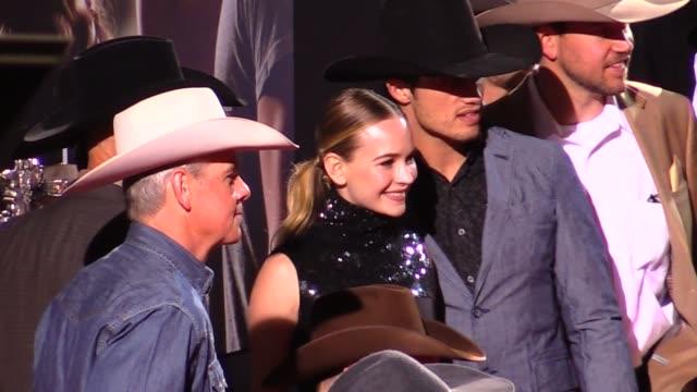 britt robertson & billy robinson at the longest ride premiere in los angeles in celebrity sightings in los angeles, - 長さ点の映像素材/bロール