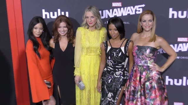 brittany ishibashi brigid brannagh ever carradine angel parker annie wersching at the premiere of hulu's 'marvel's runaways' on november 16 2017 in... - ever carradine stock videos & royalty-free footage