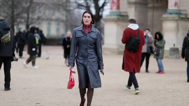 brittany xavier is seen wearing zipped jacket with animal print blue leather coat outside kenzo during paris fashion week menswear f/w 20192020 day... - leather jacket stock videos and b-roll footage