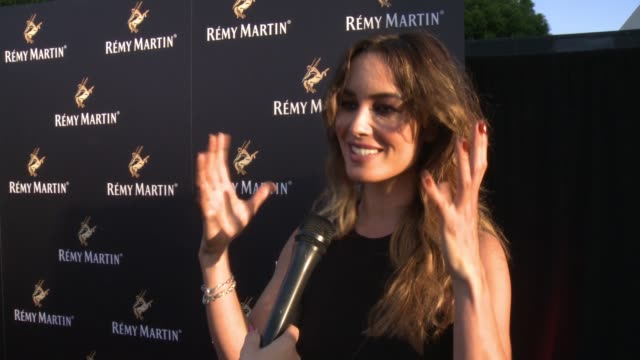 bérénice marlohe on her favorite way to drink remy martin, on who she is excited to see tonight, on her upcoming projects or summer plans at rémy... - wap stock videos & royalty-free footage