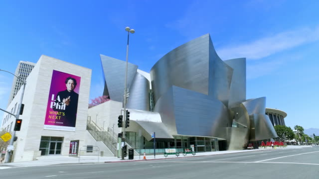 broad museum of a contemporary art and walt disney concert hall in los angeles downtown, california, 4k - modern art stock videos & royalty-free footage