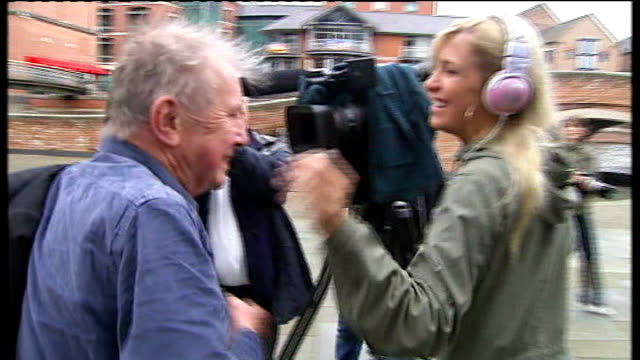 broadcaster ray gosling sentenced for false mercy killing claim; england: nottingham: ext ray gosling along to court as greets camerawoman gosling... - gosling stock videos & royalty-free footage