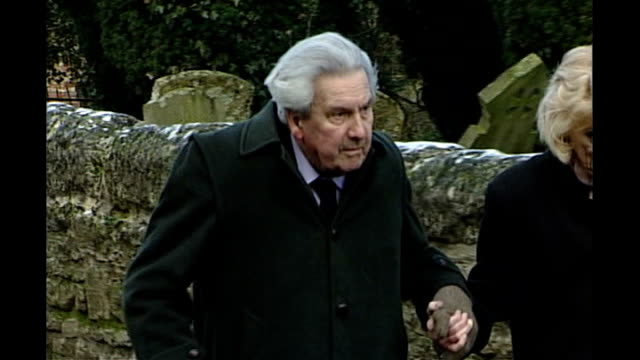broadcaster sir ludovic kennedy dies aged 89; january 2003 oxfordshire: ext ludovic kennedy along with wife moira shearer at funeral of lord jenkins - ludovic kennedy stock videos & royalty-free footage
